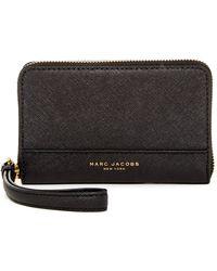 Marc Jacobs - Saffiano Zip Leather Phone Wristlet - Lyst