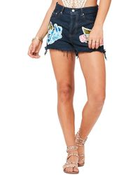 Missguided - Embroidered High Rise Shorts - Lyst
