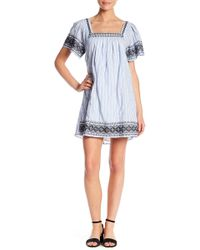Lush - Wide Sleeve Embroidered Shift Dress - Lyst