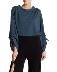 FAVLUX - Tie Sleeve Crop Pullover - Lyst