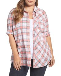 Caslon - Seersucker Shirt (plus Size) - Lyst