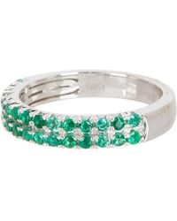 Bony Levy - 18k White Gold Emerald & Diamond Pave Ring - 0.12 Ctw - Lyst