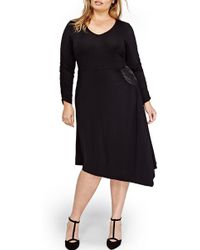 Michel Studio - V-neck Asymmetrical Dress (plus Size) - Lyst