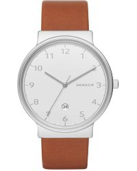 Skagen - Men's Ancher Leather Strap Watch, 45mm - Lyst