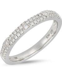 Bony Levy - 18k White Gold Diamond Detail Tringle Accent Ring - Lyst