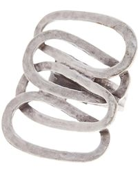 TMRW STUDIO - Antique Silver Plated Pewter Metal Work Adjustable Ring - Lyst
