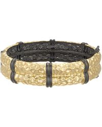 Freida Rothman - 14k Gold & Rhodium Plated Sterling Silver Contemporary Deco Textured Bangle - Lyst