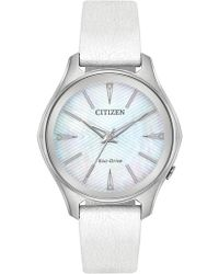 Citizen - Women's Eco-drive Silver Dial White Leather Strap, 36mm - Lyst
