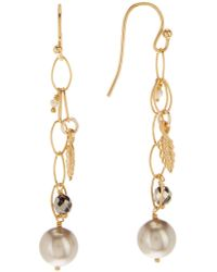 Chan Luu - 18k Yellow Gold Plated Sterling Silver Chain Drop Swarovski Pearl Accented Earrings - Lyst