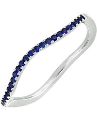 Bony Levy - 18k White Gold Pave Sapphire Wavy Stackable Ring - Lyst