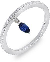 Bony Levy - 18k White Gold Marquise Blue Sapphire Stackable Ring - Lyst