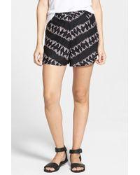 RVCA - 'lower Deck' Print High Waist Shorts (juniors) - Lyst