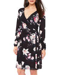 Wallis - Rose Print Faux Wrap Dress - Lyst