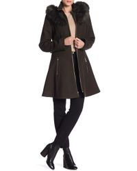 Laundry by Shelli Segal - Faux Fur Trim Belted Fit & Flare Wool Blend Coat - Lyst