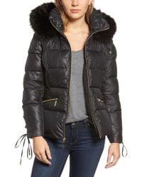 Kensie - Lace Sleeve Puffer Coat With Faux Fur Trim Hood - Lyst