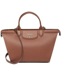 Longchamp - Le Pliage Heritage Large Leather Satchel - Lyst