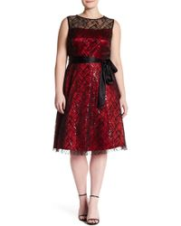 Eliza J - Lace Illusion Yoke Dress (plus Size) - Lyst