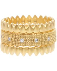 Freida Rothman - 14k Gold Plated Sterling Silver Cz Bricked Crown Ring - Set Of 3 - Size 8 - Lyst