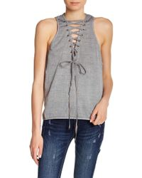 One Teaspoon - Dirty Work Lace-up Tank Top - Lyst