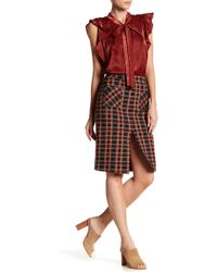 Blu Pepper - Pocket Front Stretch Plaid Pencil Skirt - Lyst