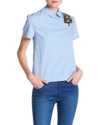 Lush - Embroidered Knot Blouse - Lyst