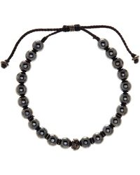 Link Up - 8mm Hematite Beaded Cord Bracelet - Lyst