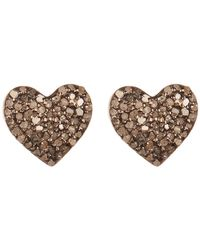 Adornia - Sterling Silver Pave Champagne Diamond Heart Stud Earrings - 0.50 Ctw - Lyst