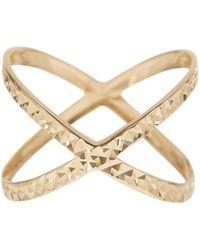 KARAT RUSH - 14k Yellow Gold Shiny Diamond Cut Fancy X-shape Ring - Lyst