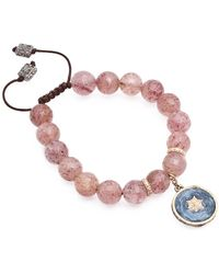 Armenta - New World Pave Diamond Enamel Star Charm & Strawberry Quartz Adjustable Bracelet - Lyst