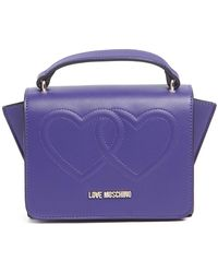 Love Moschino - Embossed Hearts Pu Leather Satchel Bag - Lyst