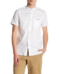 Ted Baker - Elvos Short Sleeve Granddad Trim Fit Shirt - Lyst