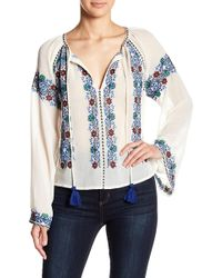 TOPSHOP - Embroidered Bardot Blouse - Lyst