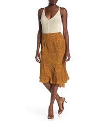 Lush - Animal Print Asymmetrical Midi Skirt - Lyst