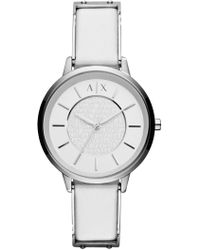 Armani Exchange - Women's Olivia Stainless Steel White Strap Watch, 36mm - Lyst
