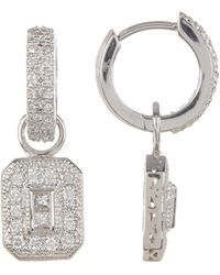Alor - 18k White Gold Pave Diamond Huggie Hoop Earrings With Dangling Charms - 0.57 Ctw - Lyst