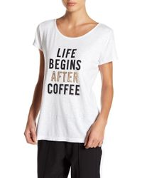 """Marc New York - """"life Begins After Coffee"""" Graphic Tee - Lyst"""