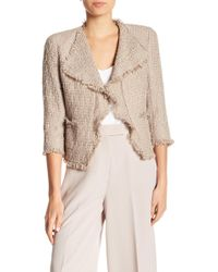 Anne Klein - Frayed Trim Tweed Jacket - Lyst