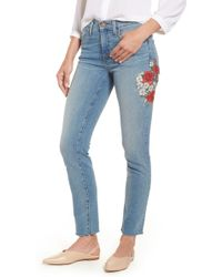 Caslon - (r) Sage High Waist Embroidered Slim Straight Leg Jeans (regular & Petite) - Lyst