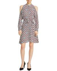 Maje - Ralinka Cold Shoulder Print Dress - Lyst