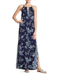 Angie - Front Keyhole Print Maxi Dress - Lyst