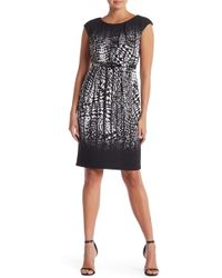 Connected Apparel - Printed Cap Sleeve Dress - Lyst
