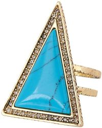 House of Harlow 1960 - Pave Crystal Turquoise Resin Triangle Theorem Ring - Size 7 - Lyst