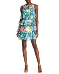 Chetta B - High Neck Draped Print Short Dress - Lyst