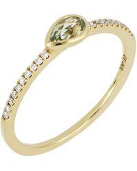 Bony Levy - 18k Yellow Gold Diamond & Green Amethyst Stack Ring - Lyst