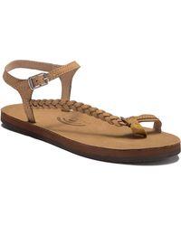550ee47bb Lyst - Rainbow Sandals Marley Side Braid Ankle Strap Sandals in Brown