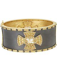 Freida Rothman - Two-tone Plated Sterling Silver Cz Metropolitan Cross Cuff Bangle Bracelet - Lyst