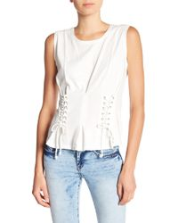 William Rast - Tommie Lace-up Sides Sleeveless Tee - Lyst