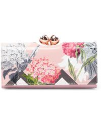 Ted Baker - Bret Palace Gardens Bobble Matinee Leather Wallet - Lyst