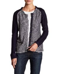 Skies Are Blue - Contrast Sleeve Sweater Jacket - Lyst
