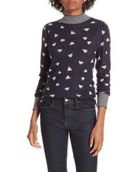 Rebecca Taylor - Mock-neck Heart-jacquard Pullover Sweater W/ Striped Neck & Cuffs - Lyst